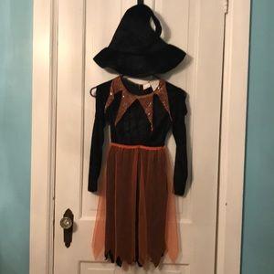 Black velvet witch costume with hat